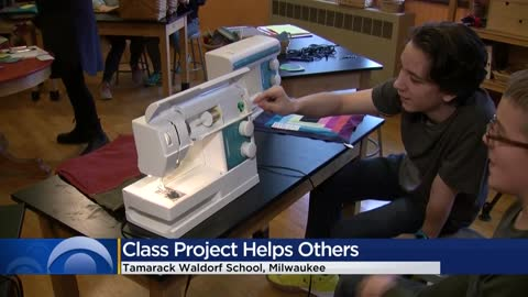 Students sew backpacks, fill them with donations for local nonprofit